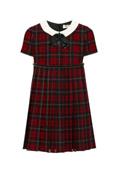 Saint Laurent Embellished plaid wool dress